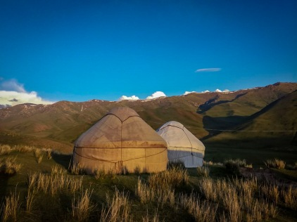 Evening by the yurts