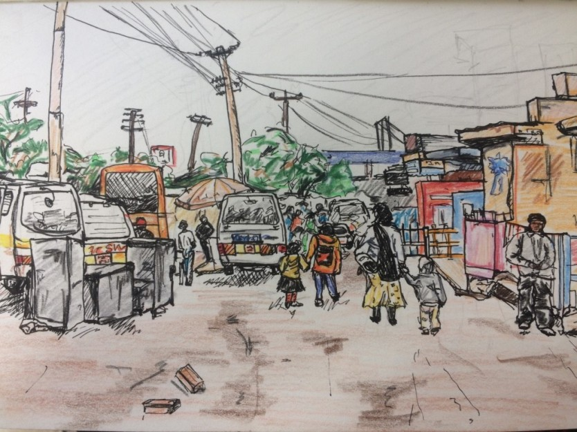 A sketch of the local town 'Banana Hill""