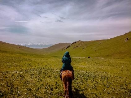 Horse riding through Jailoos (summer pastures)