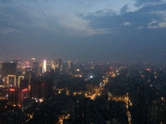 View of Chengdu at sunset from the West Pearl Tower