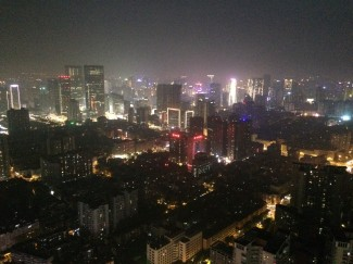 View of Chengdu from West Pearl Tower at night