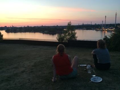 Watching the sunset over Stockholm with a couple of old Swedish friends (Hedvig and Olivia) that I stayed with