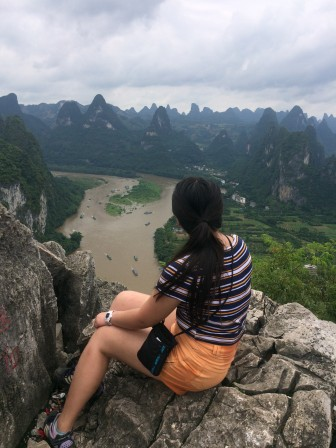 View over limestone mountains from Mount Lao in Xingping (8 hours by high-speed train from Chengdu).