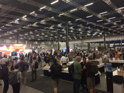 The exhibitors hall and poster displays at Stockholmsmässan