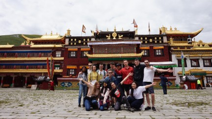 In Kangding with other interns outside a Tibetan Buddhist temple