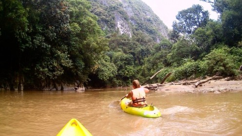 Kuching, Borneo: Looking out for crocodiles whilst Kayaking