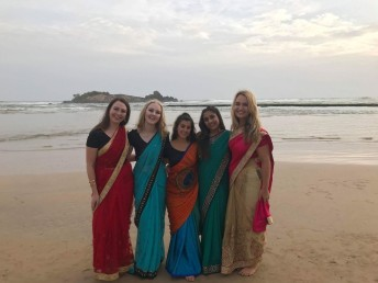 Our farewell party – we all got sarees!
