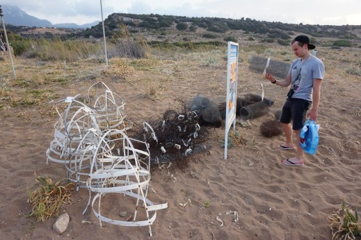 Sea turtle nest protection cages on the beach