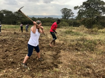 Clearing the unit's shamba (garden/allotment) before we could plant kale seedlings
