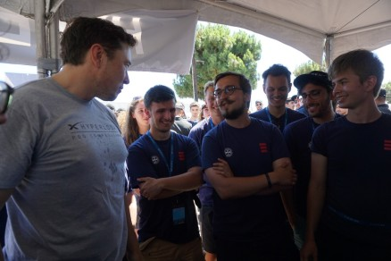 HypED team discussing pod's design with Elon Musk