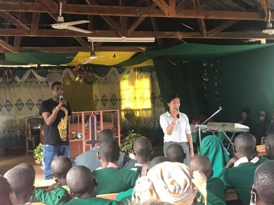 To celebrate Malala Day, we held an event to encourage women empowerment. Our three speakers were 2 hours late, so some improvisation was required. Seen here: spontaneous speech with a Swahilli translator