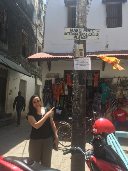 in the centre of stone town_if you can reach it you can make free international call