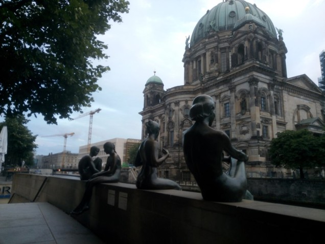 Last impressions of Berlin, maidens bathing next to snake-like Spree